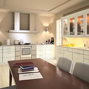 现代餐厅开放厨房家装模型