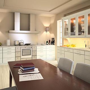 现代餐厅开放厨房整体模型