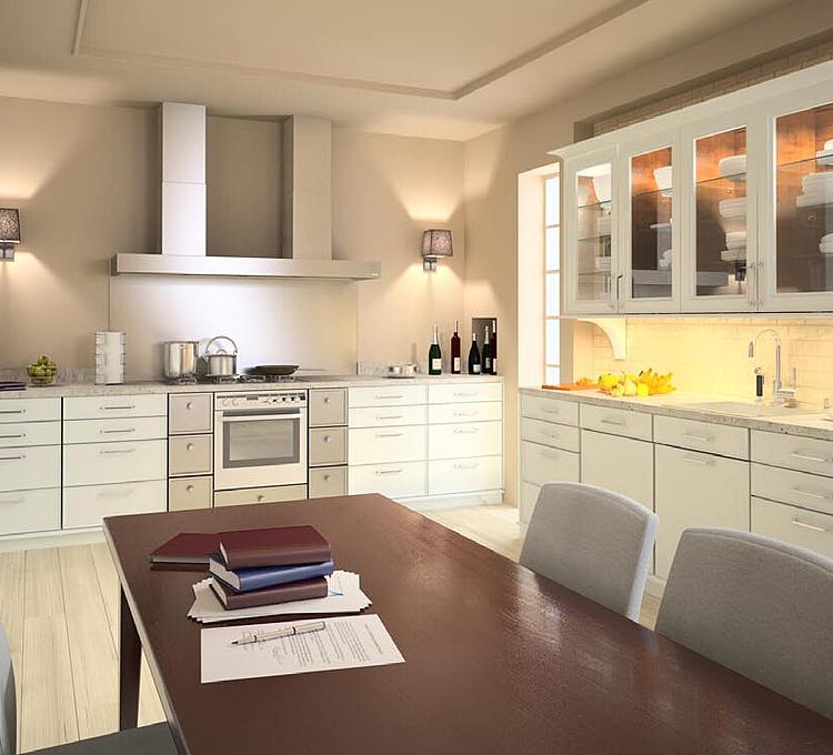 现代餐厅开放厨房模型