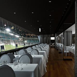 现代球场西餐厅整体模型