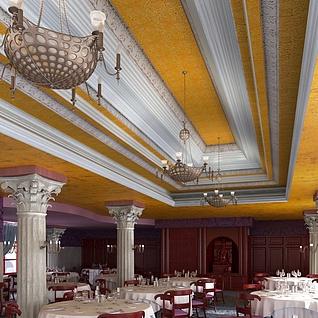 现代餐厅酒楼整体模型