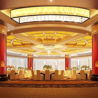 中国饭店宴会厅整体模型
