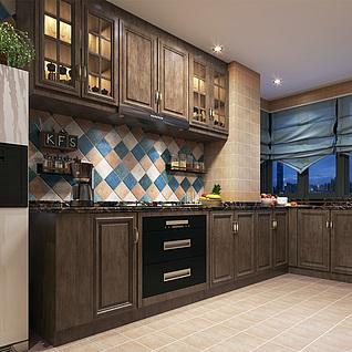 美式厨房整体模型