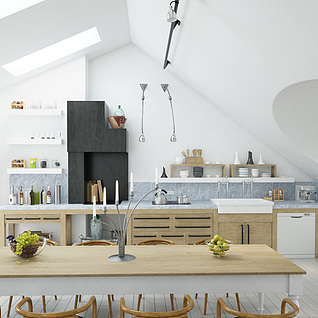 客厅餐厅书房3d模型