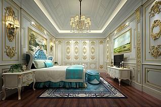 法式卧室家装模型
