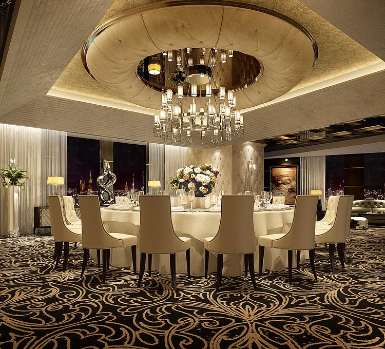 豪华餐厅贵宾室模型