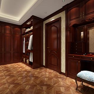 中式卧室衣帽间整体模型