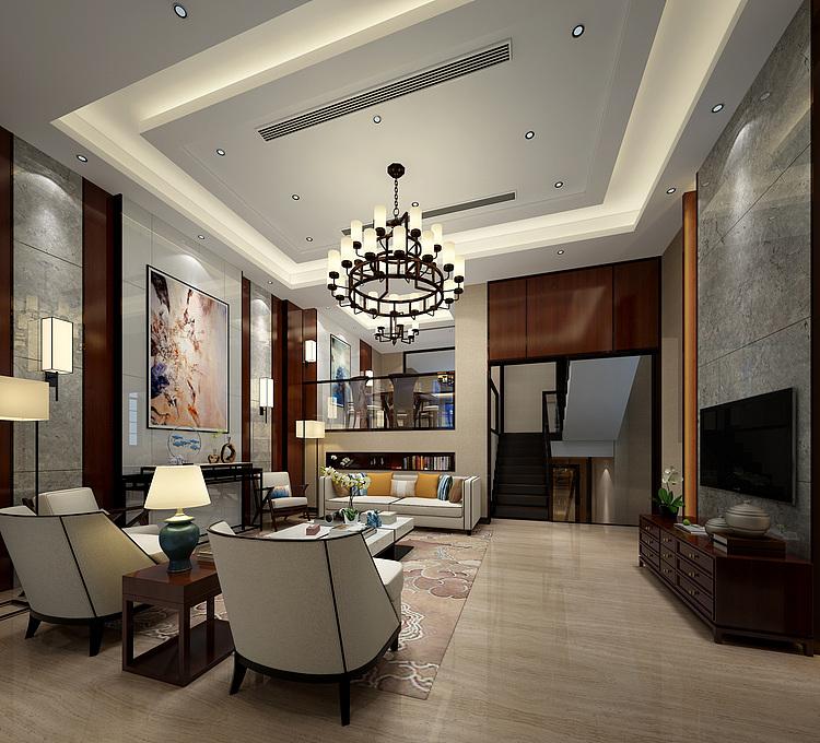 新中式别墅客餐厅模型