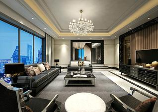 后现代客厅家装模型