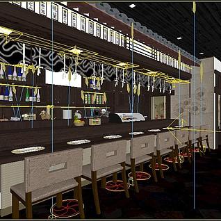 日式餐厅3d模型