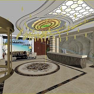 大厅前台3d模型
