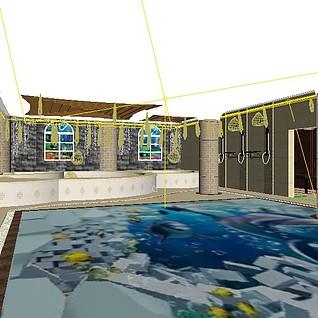 浴池澡堂3d模型