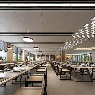 现代食堂整体模型