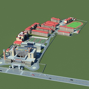 藏族中学规划模型3d模型