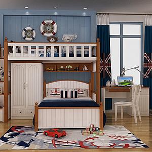 美式<font class='myIsRed'>兒童床</font>地中海裝飾整體模型