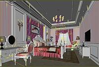 简欧卧室3d模型