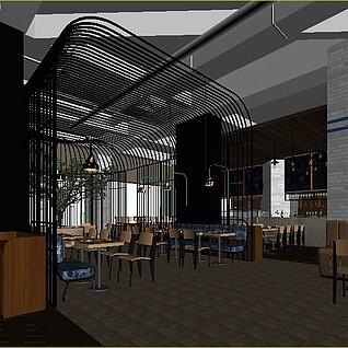 餐厅咖啡厅3d模型