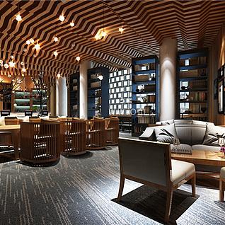 咖啡厅餐厅3d模型