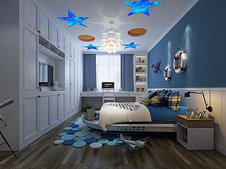 现代儿童卧室3d模型
