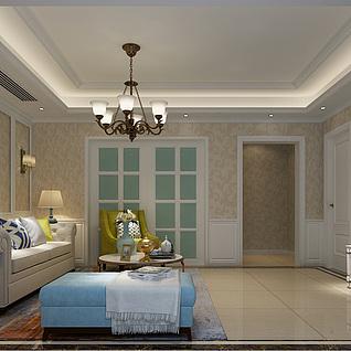 简欧客厅3d模型