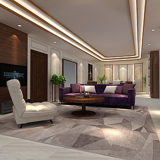 酒店客厅整体模型整体模型