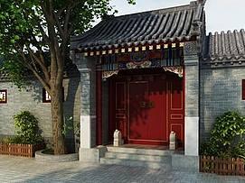 中式四合院门楼整体模型
