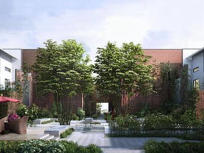 现代小区建筑绿化整体模型
