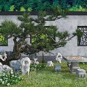 中式庭院整体模型