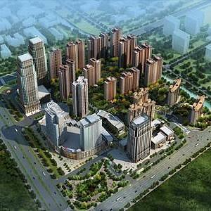 現代建筑鳥瞰整體模型