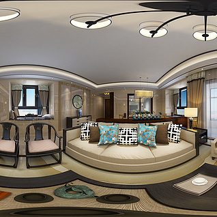 全景中式混搭客餐厅3d模型