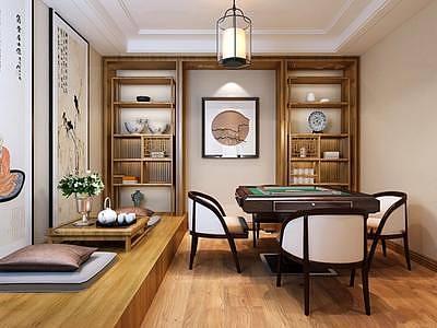 中式茶室麻将室整体模型