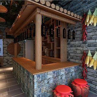农家乐餐厅3d模型