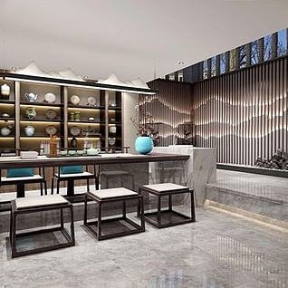 中式茶室整体模型