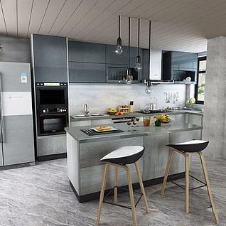 现代开放式厨房整体模型