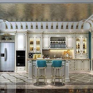 法式描金开放式厨房整体模型
