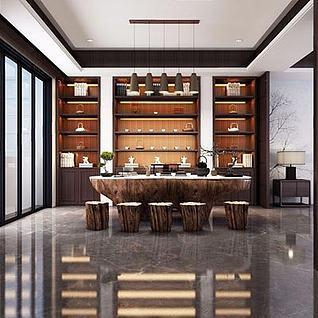 新中式茶室整体模型