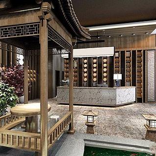 新中式餐厅前台3d模型