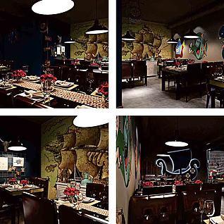 中式餐饮店整体模型