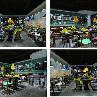 工业风咖啡店整体模型