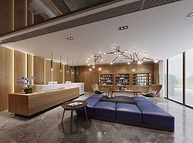 现代公司大厅整体模型