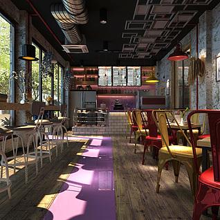 工业风咖啡厅整体模型