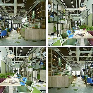 工业风餐厅整体模型