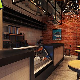 皇茶饮品店整体模型