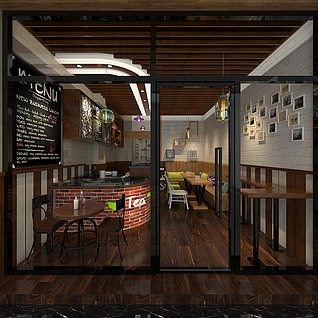 复古奶茶店整体模型