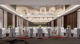 中式宴会厅整体模型