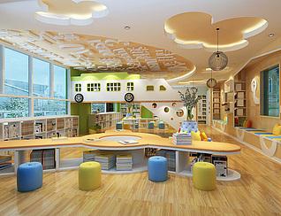 幼儿园预览室工装3d模型