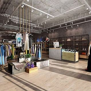 工业风服装店整体模型