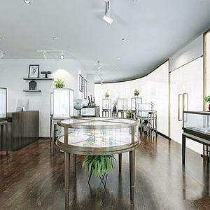 新中式翡翠珠寶店整體模型