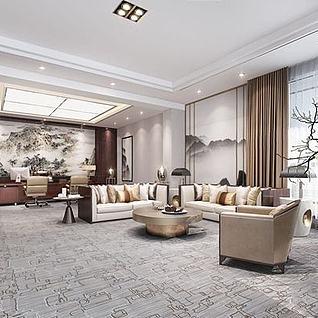 新中式办公室3d模型