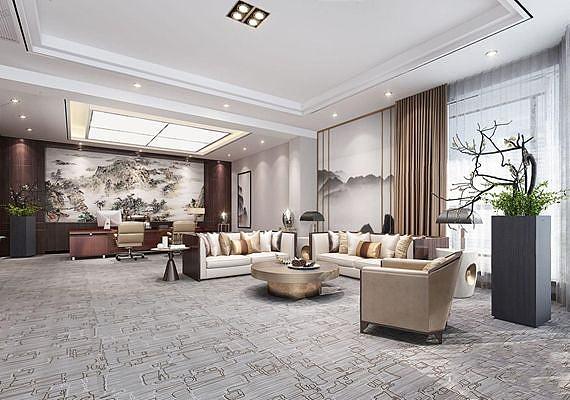 新中式办公室工装3d模型